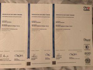 Hannah's certificates